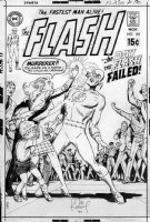 KUBERT, JOE - Flash #192 cover; unpublished 1st version, Andru & Anderson background & redrew this version almost identically for the published version. Flash - murderer + Widow & Orphan - Joe signed Comic Art