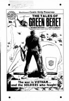 KUBERT, JOE- Tales of Green Beret cover w/ copter overlay, 1960's comic strip series, 1985 Comic Art