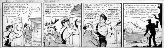 CAPP, AL - Lil' Abner daily 9/10 1952 daily- Abner builds outhouse Comic Art