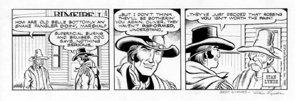 LYNDE, STAN - Latigo daily 3/12 1982 Comic Art