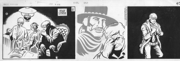 LYNDE, STAN - Rick O'Shay daily, a silent strip - Rick pray for injured Hipshot, 1-6 1975 Comic Art