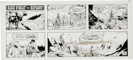 LYNDE, STAN - Rick O'Shay & Hipshot Sunday, High Country hunting classic example! 11-10 1974 Comic Art