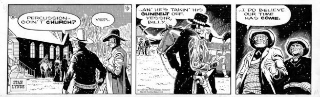 LYNDE, STAN - Rick O'Shay daily, Hipshot takes off gun for church 12/7 1974 Comic Art