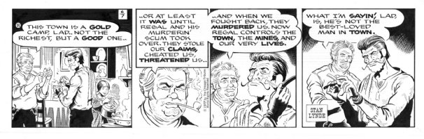 LYNDE, STAN - Rick O'Shay daily 6-7-77, Hipshot gives himself a close shave�maybe Regal, the murdering head of the local gold camp will be next on his list? Comic Art