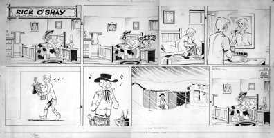 LYNDE, STAN - Rick O'Shay Sunday 10/18 1960, Rick gets out of bed Comic Art