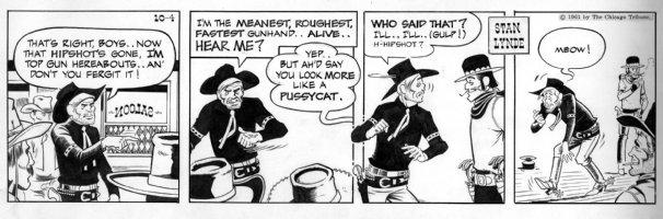 LYNDE, STAN - Rick O'Shay daily, Hipshot & pussycat gunfighter 10-4 1961 Comic Art