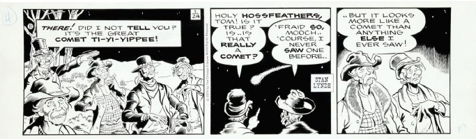 LYNDE, STAN - Rick O'Shay daily, Hipshot and cronies watch comet 1/24 1974 Comic Art
