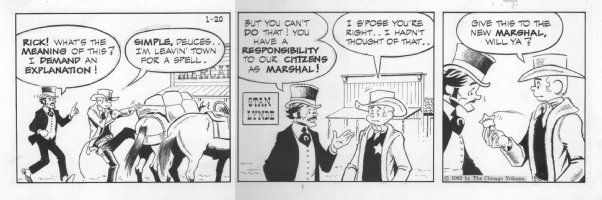 LYNDE, STAN - Rick O'Shay daily, Rick gives up being sheriff, 1/20 1962 Comic Art