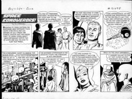 FINE, LOU - Space Conqueror's Sunday / Boys Life Mag. - space ship with aliens & babe empress Comic Art