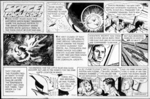 FINE, LOU - Space Conqueror's Sunday / Boys Life Mag. - Flying Saucer ship - rescue Space Empress Comic Art