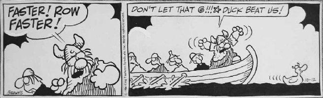 BROWNE, DIK - Hagar the Horrible daily, 2 panels, viking duck - 10/12 1984 Comic Art