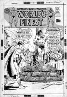 SWAN, CURT/ MURPHY ANDERSON - Worlds Finest #187 cover, Superman burns Batman at take Comic Art