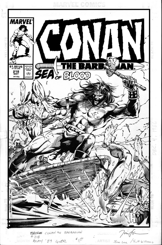 LEE, JIM - Conan the Barbarian #218 cover, Island Life Comic Art