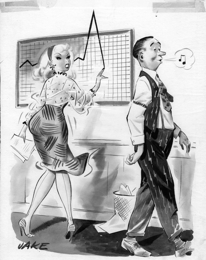 office cartoon art 1950s