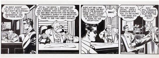 COLE, JACK inking over LOU FINE - Spirit daily 12/20 1943? Spirit & Commish Comic Art