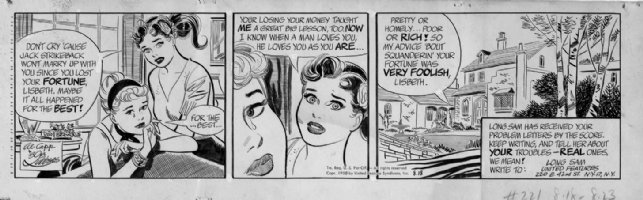 LUBBERS, BOB - Long Sam daily 8-18-1958 Comic Art