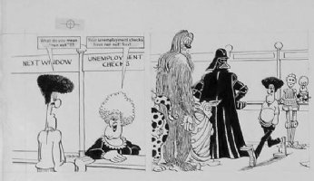 MARTIN, DON - Mad #243 daily strip - Darth Vader Star Wars satire - unemployment Comic Art