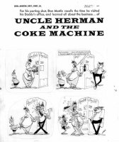 MARTIN, DON - Mad #54 pg 48 one-page story, Uncle Herman & Coke Machine bottle opening 1960 Comic Art
