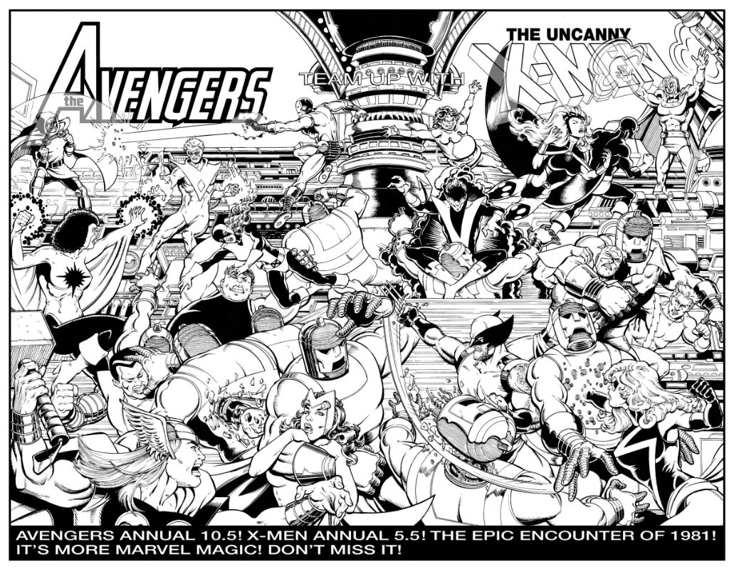 The Avengers Team Up With The Uncanny X-Men - In-House Promo Ad (Imaginary) Comic Art