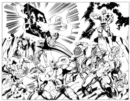 Kirby Fight!  Darkseid vs the Monolith Comic Art