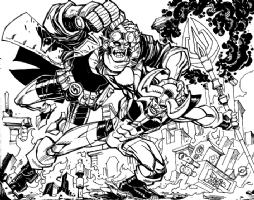 Hellboy vs. Blue Devil - The Throwdown Comic Art