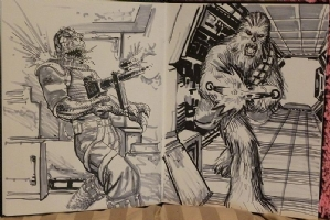 Chewbacca vs. Bossk by Scott Kolins Comic Art