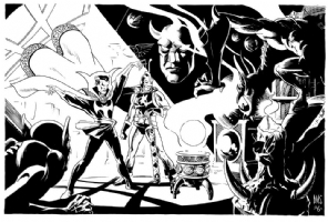 Dr Strange and the Black Knight in the Sanctum Sanctorum Comic Art