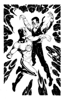 Paul Smith Marvelman Vs Johnny Bates/Kid Marvelman Comic Art
