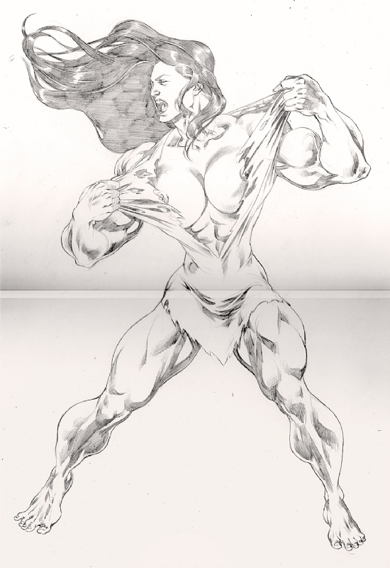 She-Hulk (Nude) - Evert Sousa Comic Art