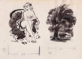 Georges Pichard - Early sexy drawing for some French magazine in the '50 Comic Art