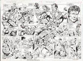BATMAN PARALYZED IN WHEELCHAIR (1st POST-KNIGHTFALL CROSSOVER) JUSTICE LEAGUE TF #5 ORIGINAL ART DOUBLE-PAGE SPREAD Comic Art