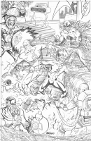 Scott Kolins - Flash and Kid Flash versus The Rogues: Captain Cold, Zoom, Heatwave, and Mirror Master Comic Art