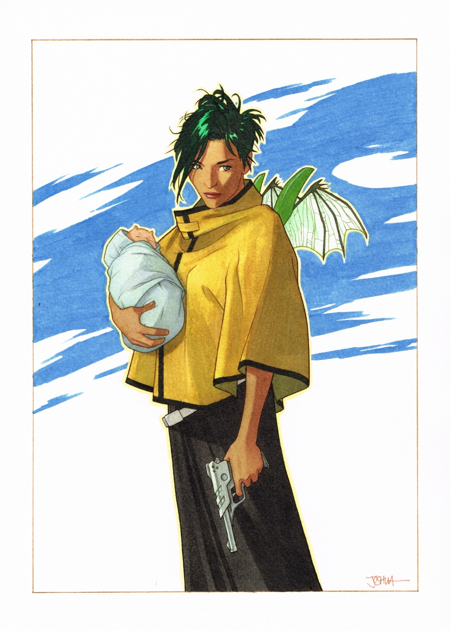 Joshua Middleton, Alana from Saga Comic Art
