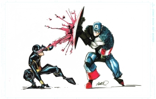 Humberto Ramos/Francisco Herrera, Captain America v. Cyclops Comic Art