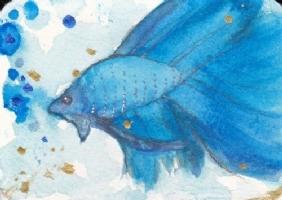 Anime Fantasy Watercolor Art ACEO Beta Fish Comic Art