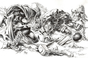 Thor Vs. Absorbing Man Comic Art
