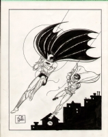 Batman #1  pencil & India ink  reinterpreted  cover recreation illustration by Bob Kane (Circa 1974) Comic Art