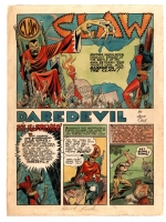 JACK COLE Hand-Colored  Title Splash of Daredevil Vs. The Claw from Silver Streak Comics #10 (MAY 1941) Comic Art