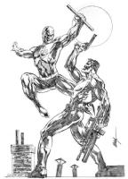 Punisher vs Daredevil Comic Art