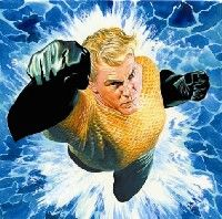 Aquaman JLA Upper Deck VS card art painting Alex Ross Comic Art