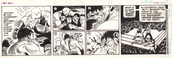 Joe Kubert - Ben Bolt Daily - July 20, 1977 - more boxing action! Comic Art
