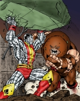 Colossus vs Juggernaut Colored Comic Art