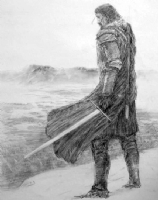 Jon Snow on The Wall from A Dance with Dragons (Game of Thrones), Comic Art