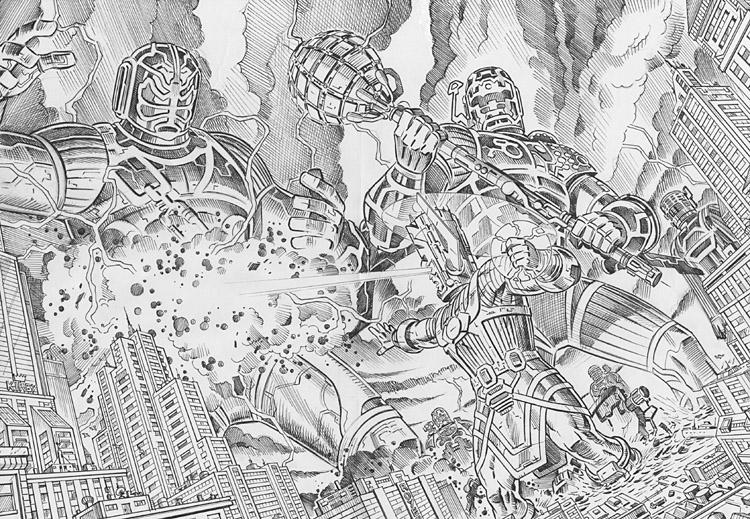 GIORGIO COMOLO Galactus vs. Celestials commission Pencils Comic Art