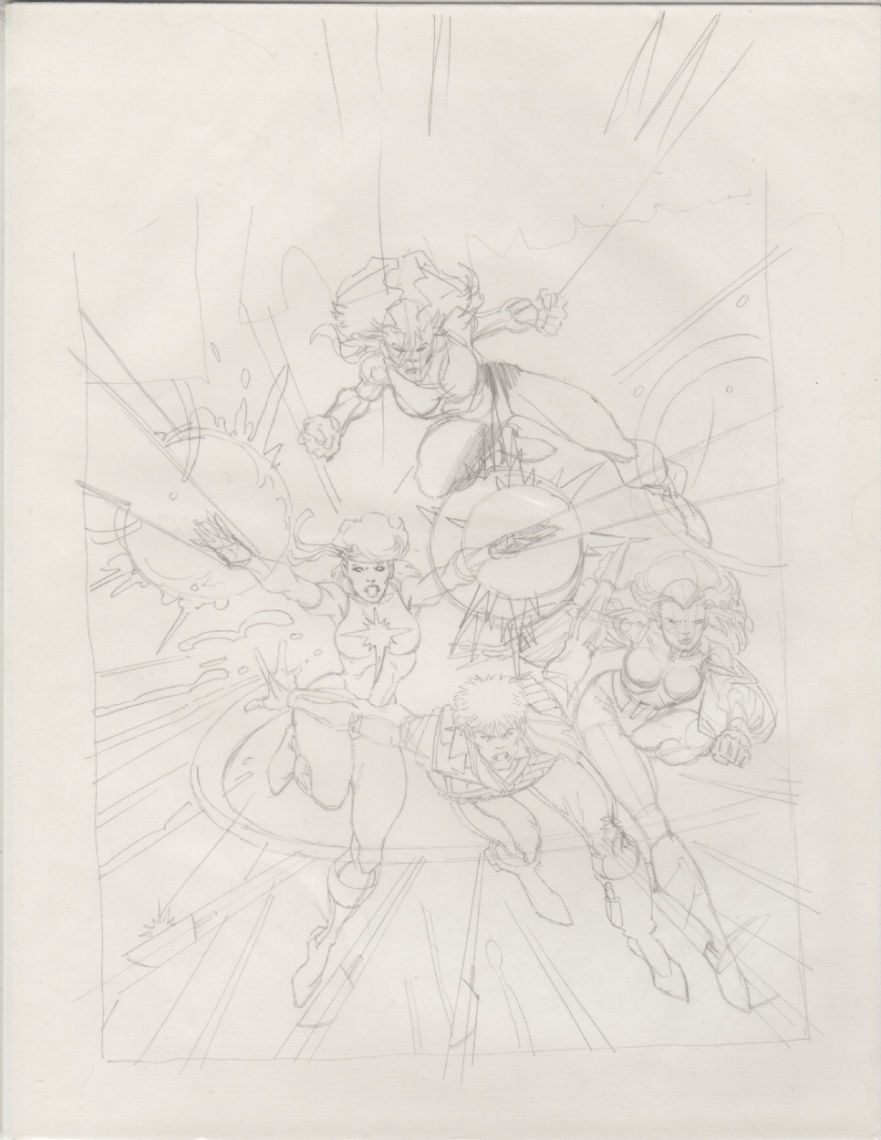 Uncanny X-men 218 Cover prelim by Arthur Adams featuring Longshot, Dazzler, Rogue and Psylocke Comic Art