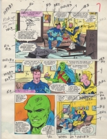 Mister Miracle 10 pg 5. Blue Beetle, Booster Gold and the Martian Manhunter. Color Guide. Comic Art