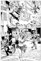 Green Goblin & Gwen Stacy Comic Art