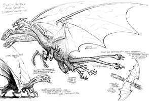 GHIDRAH aka King Ghidorah surrogate; prep art from 1987 Dark Horse GODZILLA project!, Comic Art