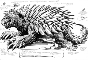 ANGUIRUS surrogate: 1987 Dark Horse GODZILLA proposal sketch, Comic Art