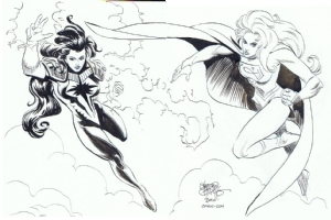 Donna Troy Darkstar & Matrix Supergirl by Sergio Cariello Comic Art